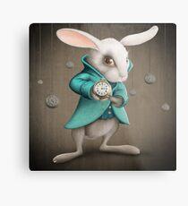white rabbit with clock Metal Print