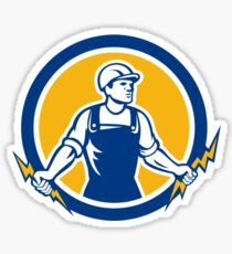 Electrician Holding Two Lightning Bolts Side Retro Sticker