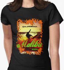 Malibu Beach Surfer Womens Fitted T-Shirt