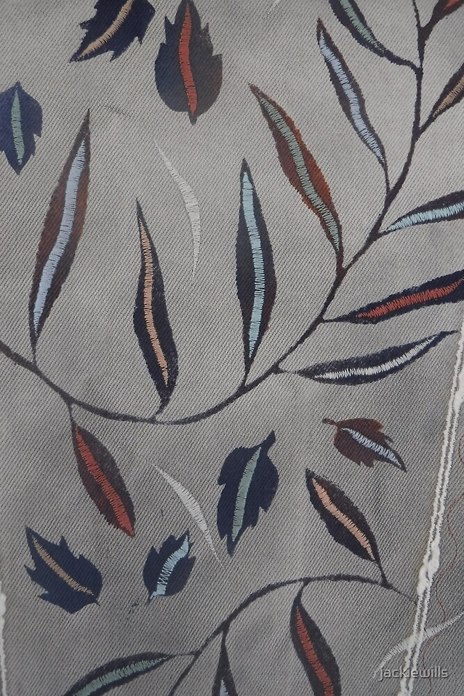 Willow Leaves. Print of Embroidered Textile by Jackie Wills by jackiewills