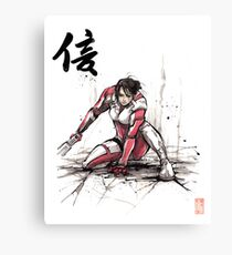 Ashley from Mass Effect 1 Sumi and Watercolor style Japanese calligraphy Faith Canvas Print