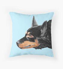 Australian Kelpie Black Portrait Throw Pillow