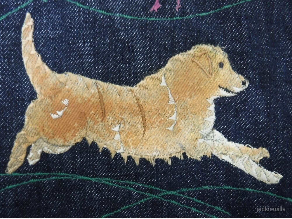 One Golden Retriever - Print of Embroidered Textile by Jackie Wills by jackiewills