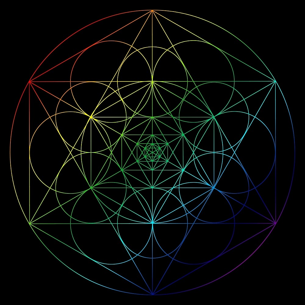 Cosmic Geometric Rainbow mandala  by Apotterthing