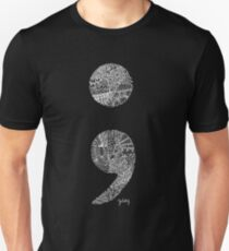 Patterned Semicolon #2 in white T-Shirt