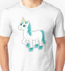 Cute Blue and White Unicorn Unisex T-Shirt