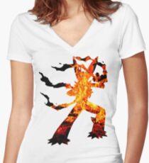 Mega Blaziken used Blast Burn Women's Fitted V-Neck T-Shirt