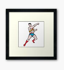 Superhero Punching Cartoon Framed Print