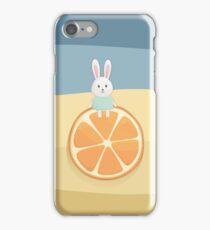 Cute bunny on orange iPhone Case/Skin