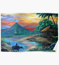 sunset in mayon  Poster