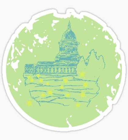 Capitol At Dusk in Lime Sticker