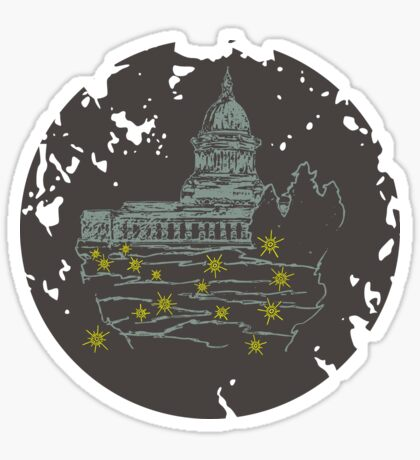 Capitol At Dusk in Brown Sticker