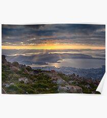 Sunbeams over Hobart, Tasmania Poster