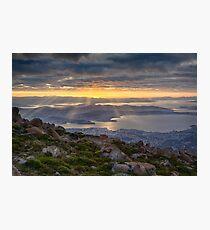 Sunbeams over Hobart, Tasmania Photographic Print