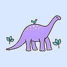 Purple Diplodocus Dinosaur with Bird by zoel