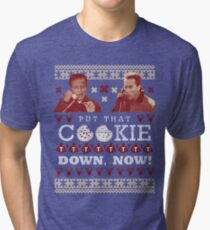 Put That Cookie Down, Now! Ugly Sweater Design Tri-blend T-Shirt