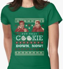 Put That Cookie Down, Now! Ugly Sweater Design Women's Fitted T-Shirt