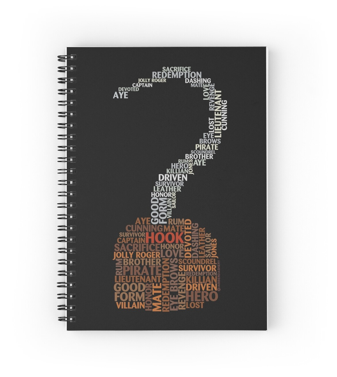 quot captain hook once upon a time typography quot spiral notebooks by jabberdashery redbubble