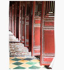 Red Doorways at Hue, Vietnam Poster