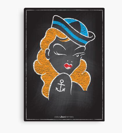 Chalk Board Tattoos - Pin Up Canvas Print