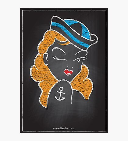 Chalk Board Tattoos - Pin Up Photographic Print