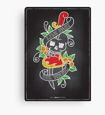 Chalk Board Tattoos - Skull Canvas Print