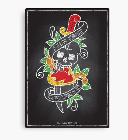Chalk Board Tattoos - Skull Canvas Print