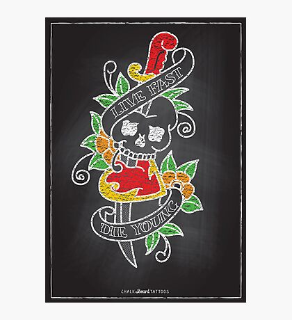 Chalk Board Tattoos - Skull Photographic Print
