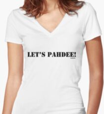 Let's pahdee! Women's Fitted V-Neck T-Shirt