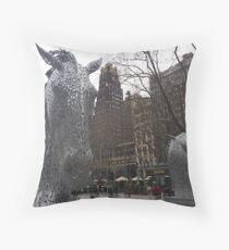 Horse Sculptures, Bryant Park, New York City Throw Pillow