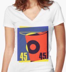 Pop Art 45 Vinyl Record Women's Fitted V-Neck T-Shirt