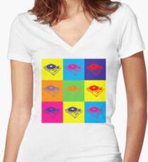 Pop Art 1200 Turntable Women's Fitted V-Neck T-Shirt