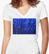 Blue Macro Moss Women's Fitted V-Neck T-Shirt