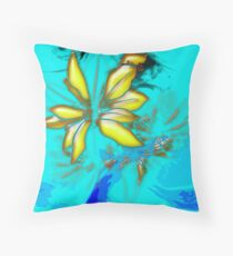 flowers on Blue Background Throw Pillow