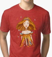 Girl in feather dress Tri-blend T-Shirt