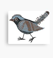 """Wacky Bird""  Blues Brown Blk Canvas Print"