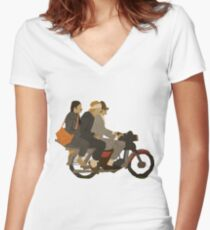 Motorcycle  Women's Fitted V-Neck T-Shirt