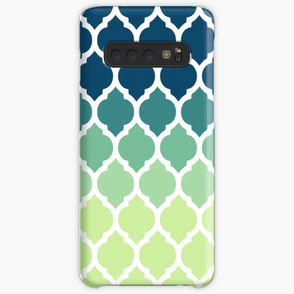 Moroccan Tile Pattern In Blue Green Ombre Case & Skin for Samsung Galaxy