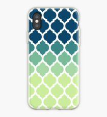 Moroccan Tile Pattern In Blue Green Ombre iPhone-Hülle & Cover