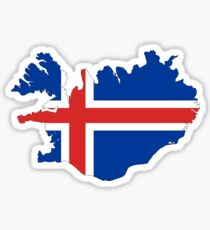 Iceland Flag Map Sticker