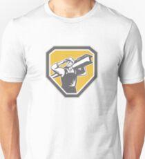 Construction Steel Worker Carrying I-Beam Retro Unisex T-Shirt