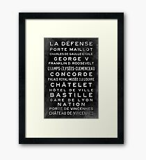 Paris Metro Subway Sign Art Framed Print