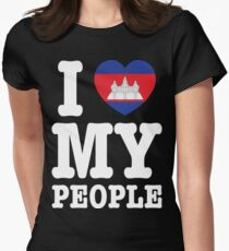 I Heart (Love) My Khmer People Womens Fitted T-Shirt