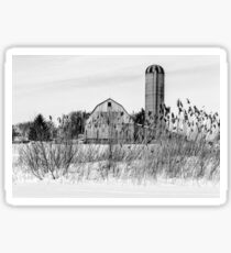 Winter Farm Scene Sticker