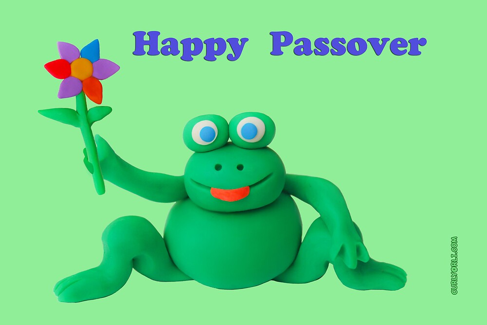 Passover Frog Greeting Card by curlyorli