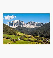 Funes Valley,Dolomites,Italy Photographic Print