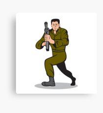Soldier Aiming Sub-Machine Gun Cartoon Canvas Print