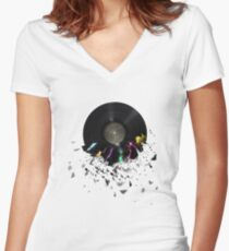 record Women's Fitted V-Neck T-Shirt