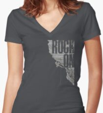 Rock On - Climbing Fitted V-Neck T-Shirt