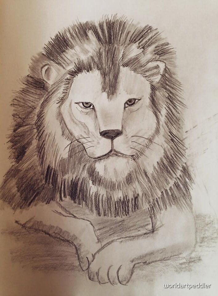 Lion Drawing by worldartpeddler
